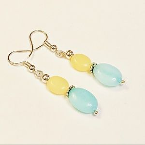 Serenity Springs 🦋 Lemon & Aqua Jadeite Earrings